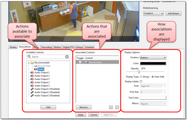 exacqVision IP Camera Link Associations