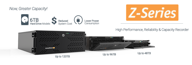 Storage Capacity Increased by 50% on New exacqVision Z-Series IP NVR