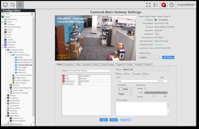 EXACQVISION V19 03 SUPPORTS ENHANCED MAP LINKING AND ON-SCREEN